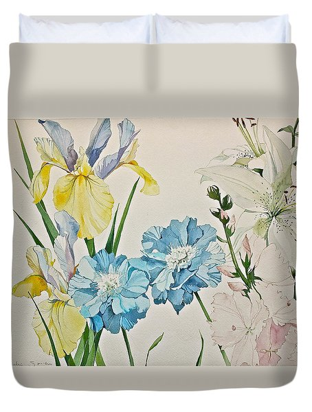 Duvet Cover featuring the painting A Variety-posthumously Presented Paintings Of Sachi Spohn  by Cliff Spohn