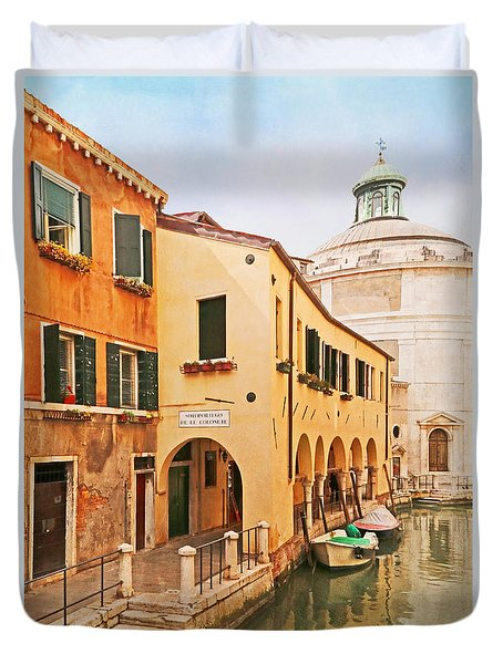 Duvet Cover featuring the photograph A Venetian View - Sotoportego De Le Colonete - Italy by Brooke T Ryan