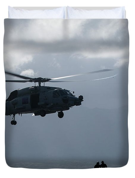 a vertical replenishment with an SH-60 Sea Hawk helicopter  2 Duvet Cover