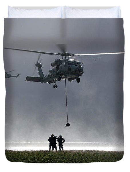 a vertical replenishment with an SH-60 Sea Hawk helicopter Duvet Cover