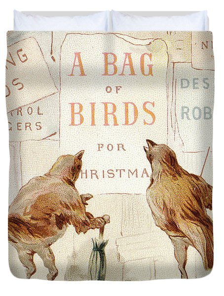 A Victorian Christmas Card Of Two Birds Looking At A Poster Of A Bag Of Birds For Christmas Duvet Cover