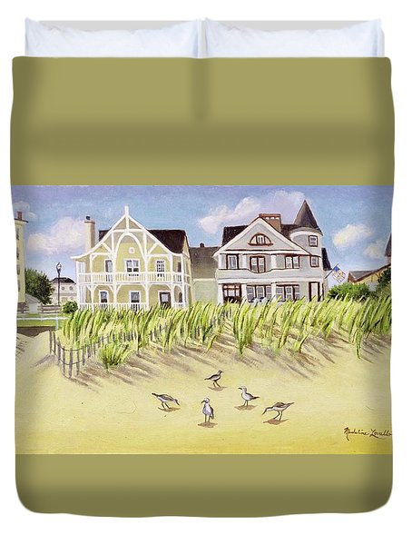 A View Along Ocean Grove Beach Duvet Cover