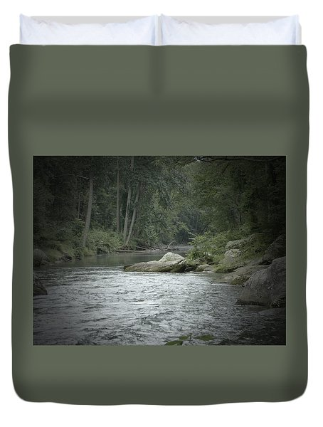 A View Downstream Duvet Cover by Donald C Morgan