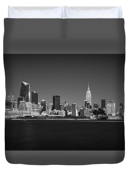 Duvet Cover featuring the photograph A View From Across The Hudson by Eduard Moldoveanu