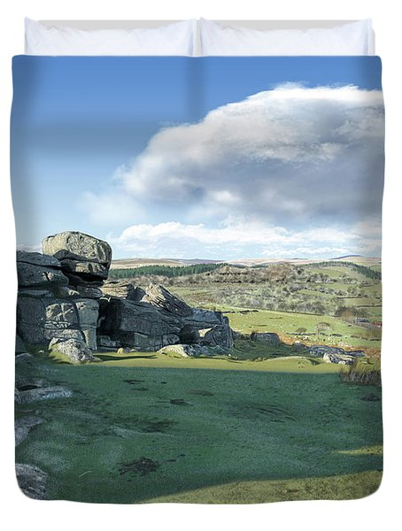 A View From Combestone Tor Duvet Cover