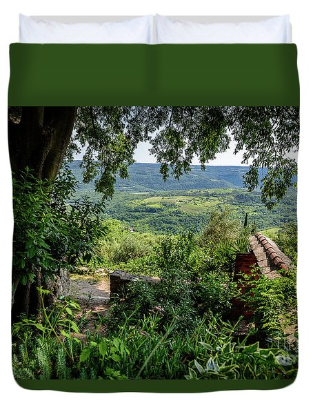 A View From Groznjan Of The Istrian Hill Town Countryside, Istria, Croatia Duvet Cover