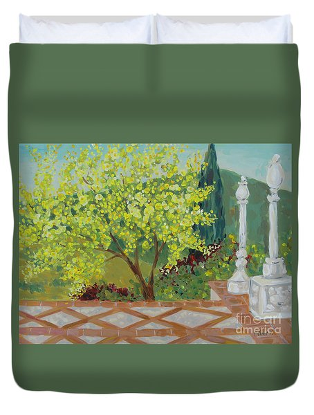 A View From Hearst Castle Duvet Cover