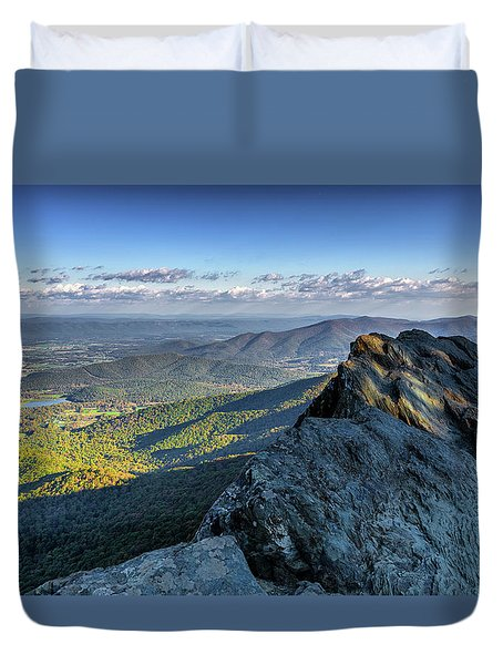 Duvet Cover featuring the photograph A View From The Cliffs by Lori Coleman