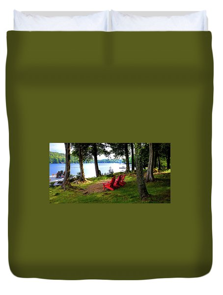 Duvet Cover featuring the photograph A View Of Big Moose Lake by David Patterson