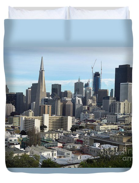 A View Of Downtown From Nob Hill Duvet Cover