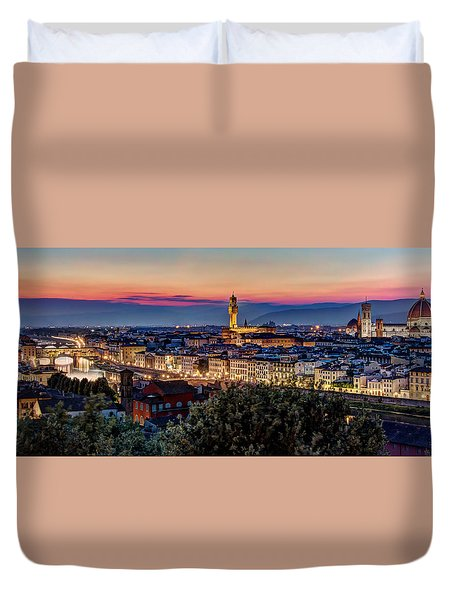 Duvet Cover featuring the photograph A View Of Florence by Brent Durken