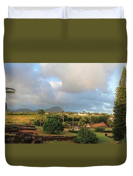 A View Of Prince Kuhio Park Duvet Cover by Bonnie Follett