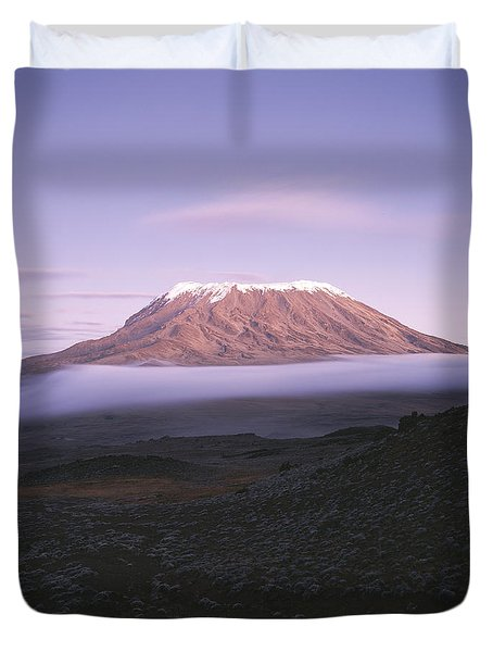 A View Of Snow-capped Mount Kilimanjaro Duvet Cover