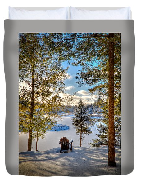 A View Of The Moose Duvet Cover by David Patterson