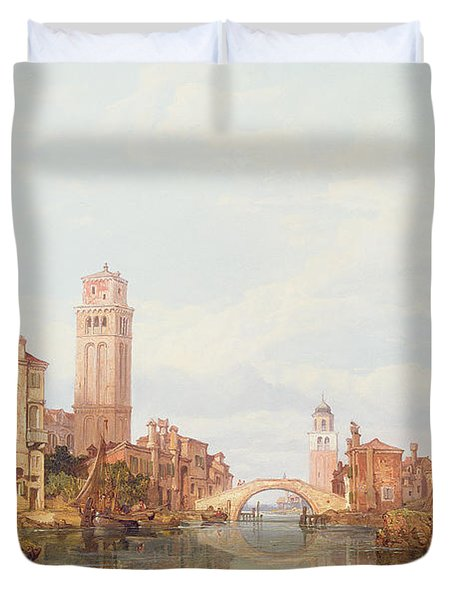 A View Of Verona Duvet Cover by George Clarkson Stanfield