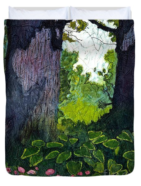 A View Through The Trees Watercolor Batik Duvet Cover