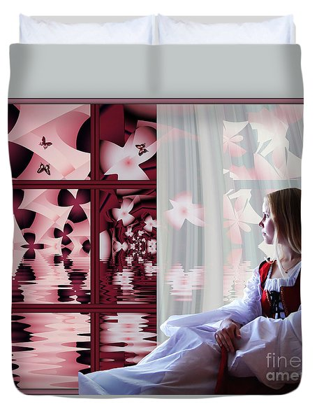 Duvet Cover featuring the digital art A View To The Water Garden by Michelle H