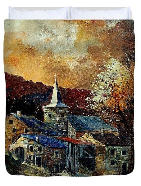 A Village In Autumn Duvet Cover by Pol Ledent