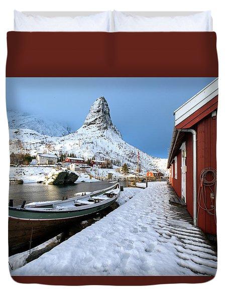 Duvet Cover featuring the photograph A Village Lofoten by Dubi Roman