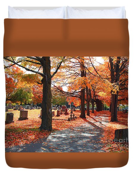 Duvet Cover featuring the painting A Visit To Calvary On A Gorgeous Fall Day by Rita Brown