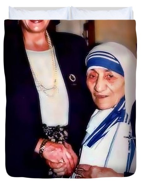 A Vist With Mother Teresa Duvet Cover