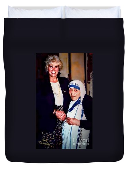 Duvet Cover featuring the digital art A Vist With Mother Teresa by Kathy Tarochione