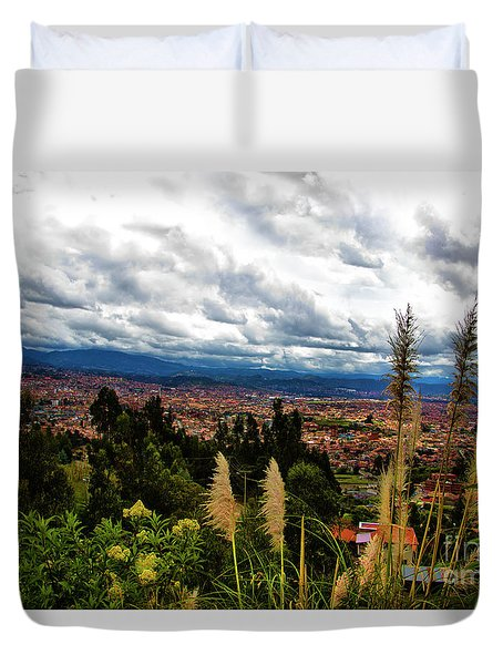 A Vista Of Cuenca From The Autopista Duvet Cover by Al Bourassa