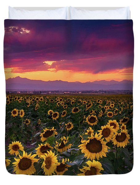 A Vivid Colorado Sunflower Sunset Duvet Cover