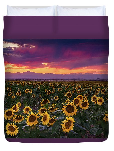 A Vivid Colorado Sunflower Sunset Duvet Cover