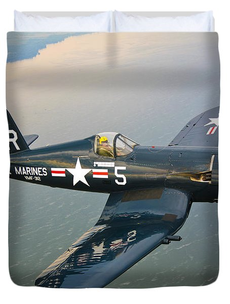 Duvet Cover featuring the photograph A Vought F4u-5 Corsair In Flight by Scott Germain