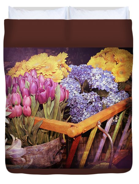 A Wagon Full Of Spring Duvet Cover by Patrice Zinck