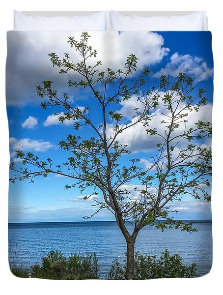 A Walk Along Lake Michigan Duvet Cover