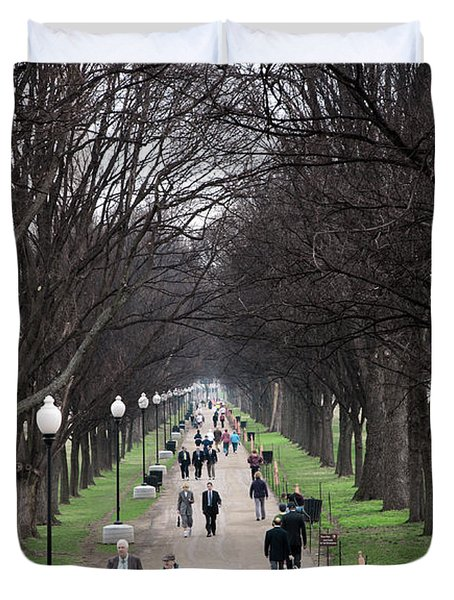 A Walk Along The National Mall In Washington Dc Duvet Cover