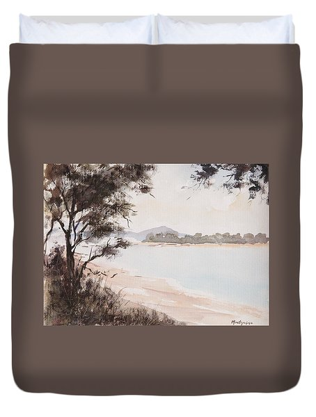A Walk Along The Riverside Duvet Cover