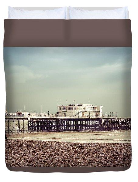 A Walk By The Pier Duvet Cover by David Warrington