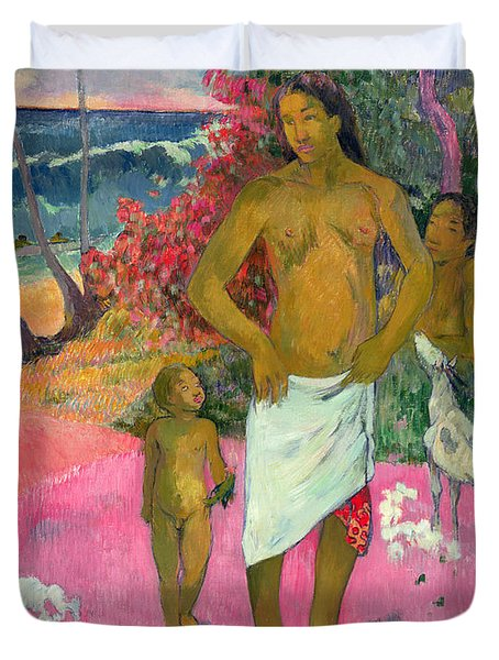 A Walk By The Sea Duvet Cover by Paul Gauguin