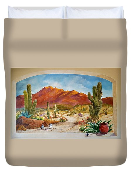 Duvet Cover featuring the painting A Walk In The Desert Wall Mural by Marilyn Smith