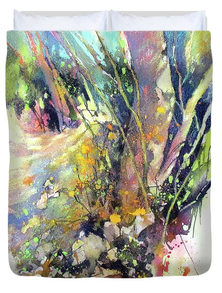 A Walk In The Forest Duvet Cover by Rae Andrews