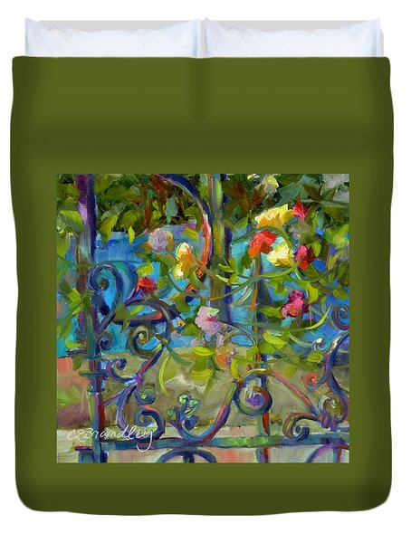Duvet Cover featuring the painting A Walk In The Garden by Chris Brandley
