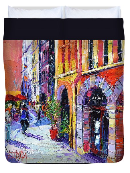 A Walk In The Lyon Old Town Duvet Cover