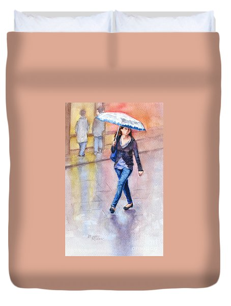 A Walk In The Rain Duvet Cover