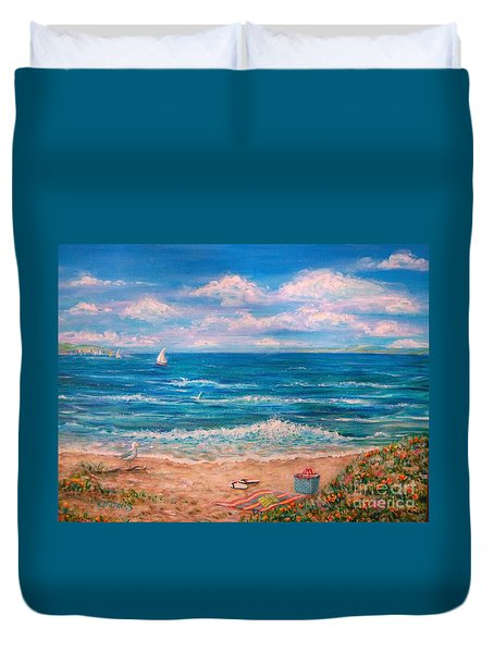 Duvet Cover featuring the painting A Walk In The Sand by Dee Davis