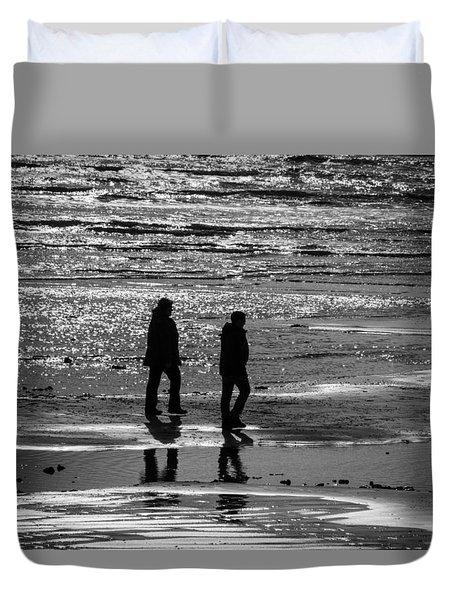 A Walk In The Sea Duvet Cover by David Warrington