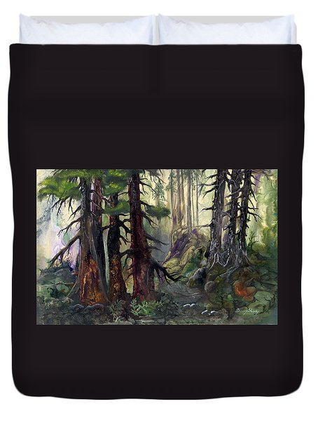 Duvet Cover featuring the painting A Walk In The Woods by Sherry Shipley