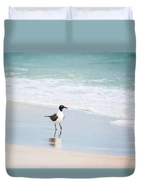 A Walk On The Beach Duvet Cover by Shelby  Young