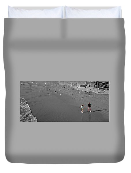 A Walk On The Beach With Dad Duvet Cover