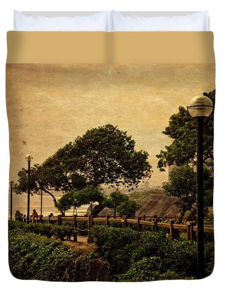 Duvet Cover featuring the photograph A Walk On The Edge - Peru by Mary Machare