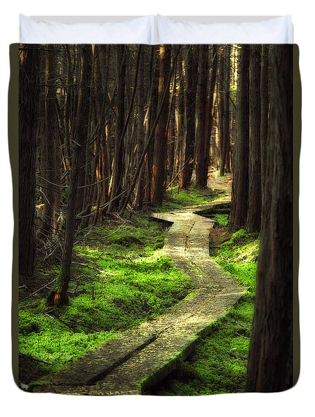 Duvet Cover featuring the photograph A Walk Through The Bog by Robert Clifford