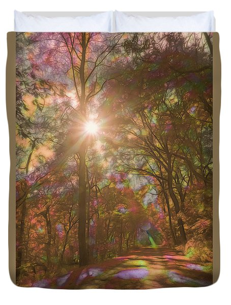A Walk Through The Rainbow Forest Duvet Cover