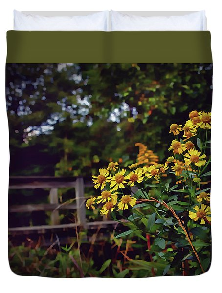 Duvet Cover featuring the photograph A Walk With Wildflowers by Jessica Brawley